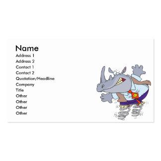 rinoceronte tonto con el dibujo animado de los zap tarjeta personal