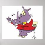 rinoceronte tonto que juega el dibujo animado de l posters