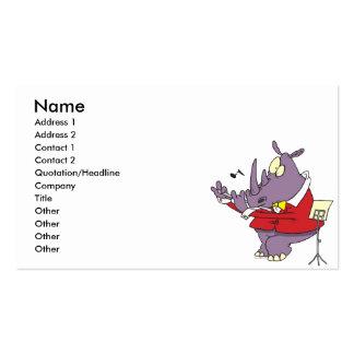 rinoceronte tonto que juega el dibujo animado de l tarjetas de negocios