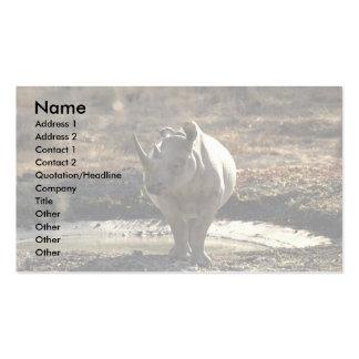 Rinoceronte vista delantera tarjetas de visita