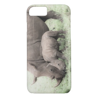 Rinoceronte y caja blancos del teléfono del bebé funda iPhone 7