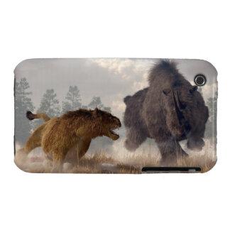 Rinoceronte y león lanosos de la cueva carcasa para iPhone 3