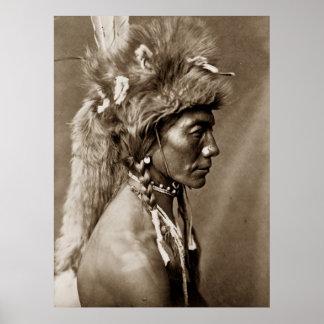 Riñón amarillo, poster indio nativo de Piegan