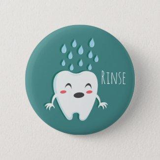 Rinse Teeth Dentist Standard, 2¼ Inch Round Button