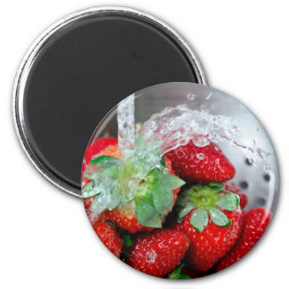Rinsing Strawberry With Water Fridge Magnets