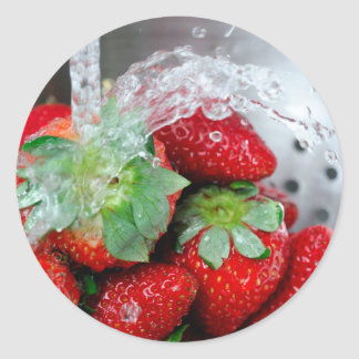 Rinsing Strawberry With Water Round Stickers