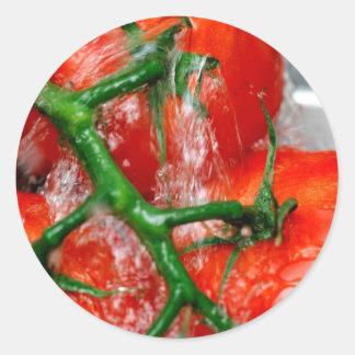 Rinsing Vine Ripened Tomato Classic Round Sticker