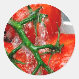 Rinsing Vine Ripened Tomato Stickers
