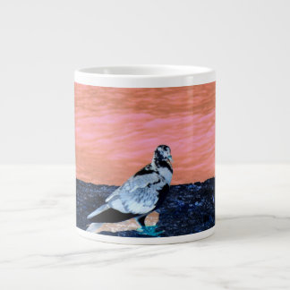 río azul de la pared coralina de varios colores de taza de café gigante