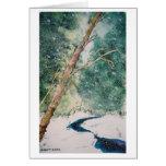 Río azul en tarjeta de la nieve