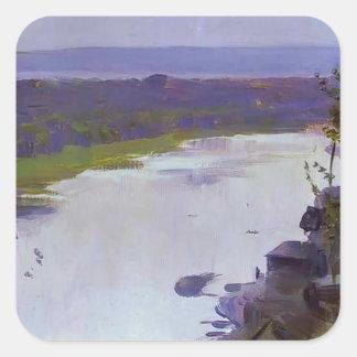Río Belaya de Mikhail Nesterov- Calcomania Cuadradas Personalizadas