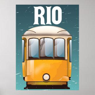 Rio Brazil Vintage Tram vacation travel poster