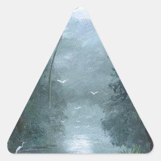 Río brumoso de Loxahatchee Pegatina Triangular