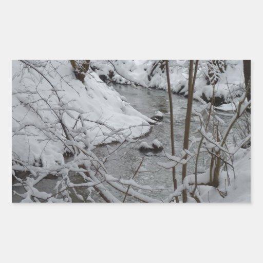 Río congelado del invierno rectangular pegatinas