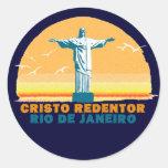 Río - Corcovado - Jesucristo el redentor Pegatina Redonda