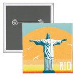 Río - Corcovado - Jesucristo el redentor Pin Cuadrado