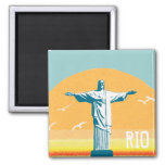 Rio - Corcovado - Jesus Christ the Redeemer 2 Inch Square Magnet