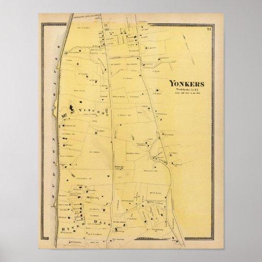 Río Dale y mapa del atlas del Mt San Vicente Póster