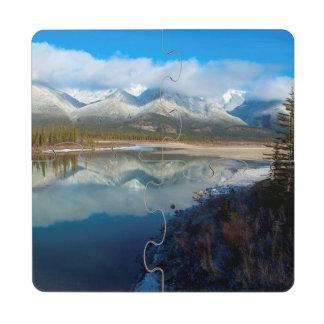 Río de Athabasca, parque nacional de jaspe, Posavasos De Puzzle