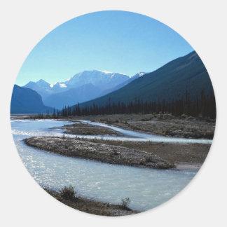 Río de Athabasca, ruta verde de Icefield, Alberta, Pegatina Redonda