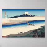 Río de Hokusai Tama en la provincia de Musashi Poster