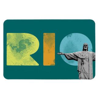 rio de janeiro and cristo redentor rectangular photo magnet