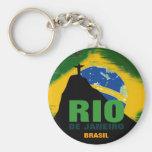 Rio de Janeiro - Brasil flag Basic Round Button Keychain