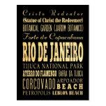 Rio de Janeiro City of Brazil Typography Art Postcards