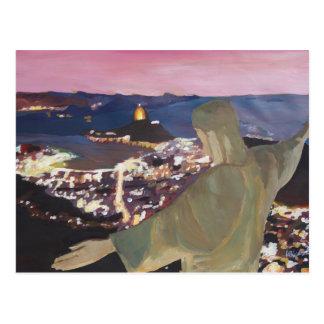 Río de Janeiro con Cristo el redentor 2 Postal