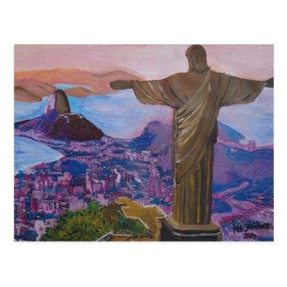 Río de Janeiro con Cristo el redentor Postal