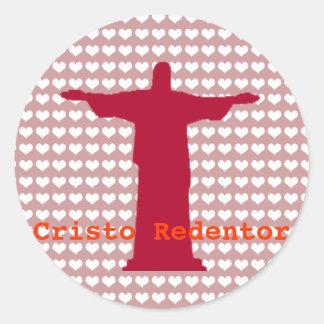 ~ Río de Janeiro de Cristo Redentor. el Brasil Pegatina Redonda