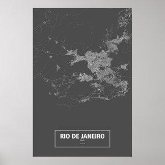 Río de Janeiro, el Brasil (blanco en negro) Póster