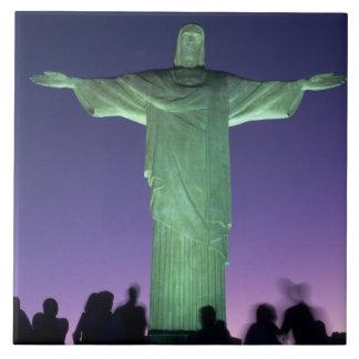 Río de Janeiro, el Brasil. la estatua de Cristo en Azulejo Cuadrado Grande