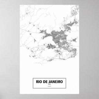 Río de Janeiro, el Brasil (negro en blanco) Póster