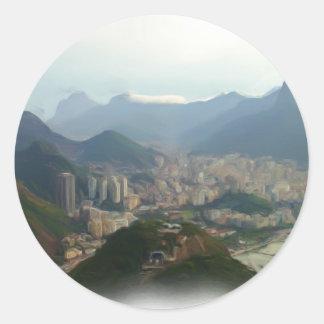 Río de Janeiro - el Brasil Pegatina Redonda