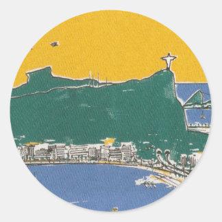Rio De Janeiro green and yellow Classic Round Sticker