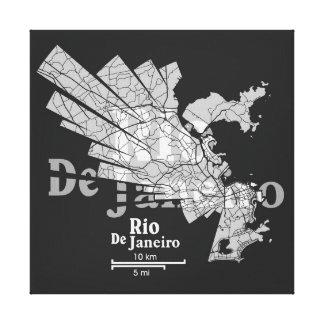 Rio De Janeiro Map Canvas Canvas Print