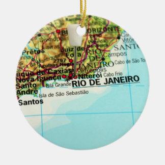 Rio de Janeiro Map Ceramic Ornament