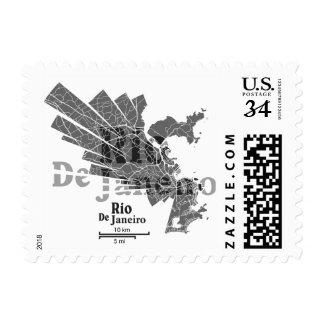 Rio De Janeiro Map Post Stamp