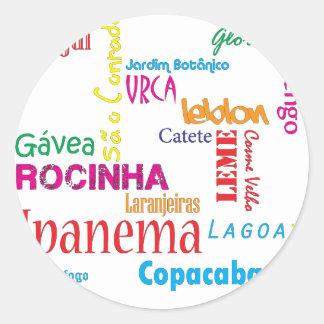 Rio de Janeiro Neighbourhoods Classic Round Sticker