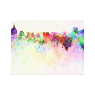 Rio de Janeiro skyline in watercolor background wi Canvas Print