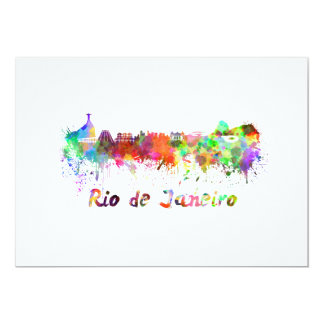 Rio de Janeiro skyline in watercolor Card