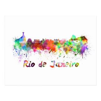 Rio de Janeiro skyline in watercolor Postcard