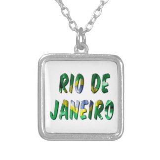 Rio de Janeiro Word Square Pendant Necklace