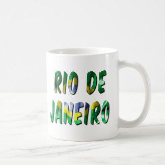 Rio de Janeiro Word With Flag Texture Coffee Mug