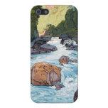 Río de Kurobe por arte del hanga de la espinilla d iPhone 5 Cobertura