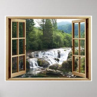 Río de la cascada de la ventana abierta póster