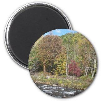 Río de la cereza en el otoño imán de frigorifico