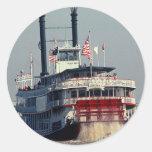 Río de la paleta del barco de vapor de New Orleans Pegatinas Redondas