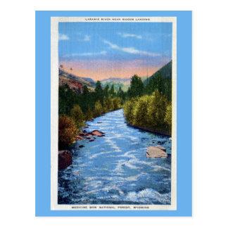 Río de Laramie del vintage cerca de las maderas Tarjeta Postal